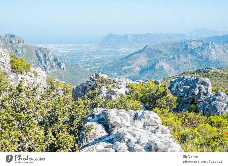 332 Natur Ferien & Urlaub & Reisen blau grün Sommer Meer Ferne Berge u. Gebirge Umwelt Leben Gefühle Freiheit Stimmung oben Felsen Horizont