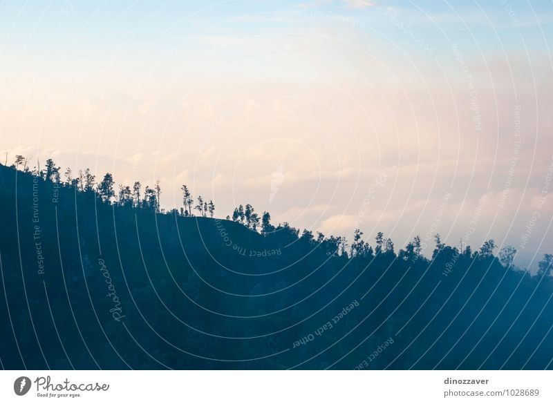 Waldsilhouette in den Bergen von Kawah Ijen Ferien & Urlaub & Reisen Tourismus Berge u. Gebirge Natur Landschaft Himmel Wolken Nebel Hügel Felsen Vulkan blau