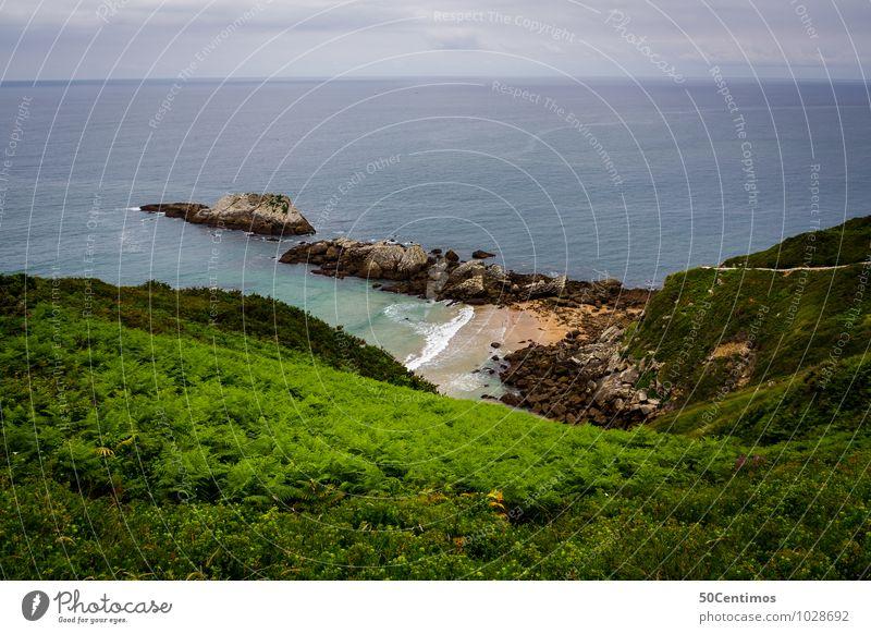 traumhafte Küste Natur Ferien & Urlaub & Reisen Pflanze Meer Landschaft ruhig Wolken Strand Umwelt Wiese Glück Schwimmen & Baden Felsen Horizont Tourismus