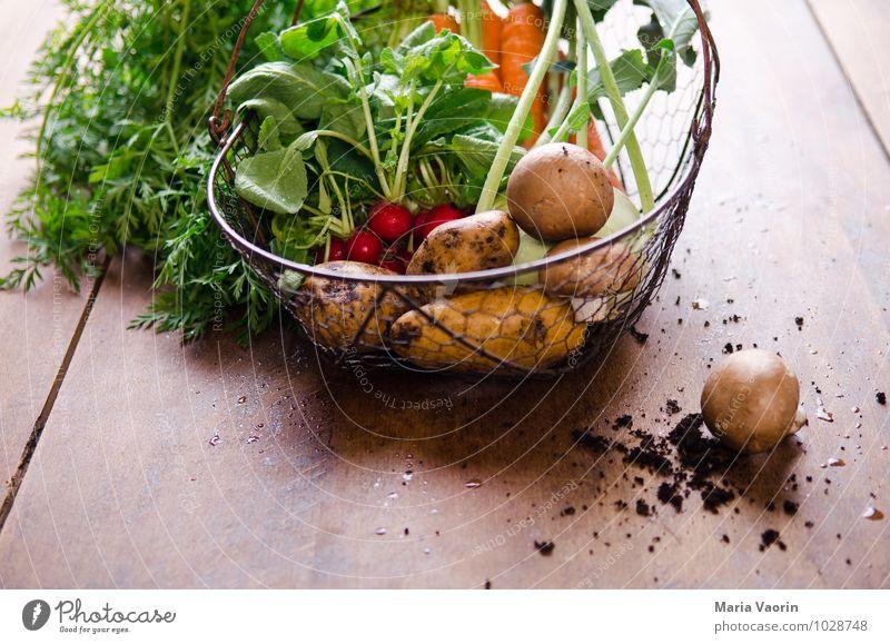 Gemüsekorb Lebensmittel Essen Bioprodukte Vegetarische Ernährung Diät Gesundheit Gesunde Ernährung Natur Erde frisch natürlich genießen Möhre Kartoffeln