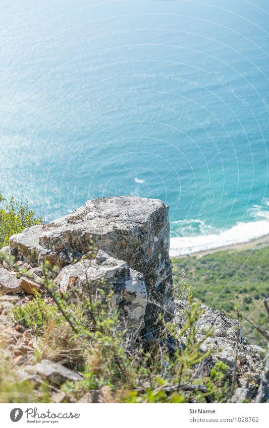 314 Natur Ferien & Urlaub & Reisen Sommer Wasser Sonne Meer Landschaft ruhig Ferne Strand Berge u. Gebirge Küste Freiheit Stein oben Felsen
