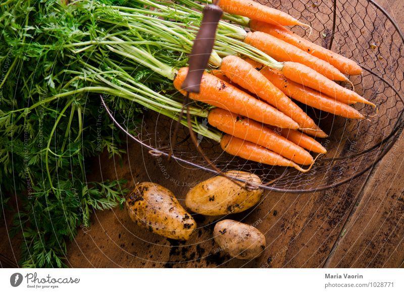 Gartengemüse 4 Lebensmittel Gemüse Essen Bioprodukte Vegetarische Ernährung Diät Gesundheit Gesunde Ernährung Erde frisch natürlich Kartoffeln Möhre Holztisch
