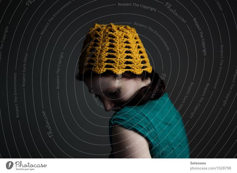 Dotterkopf Mensch Frau Gesicht Erwachsene gelb feminin Haare & Frisuren Kopf Mütze Handarbeit Wolle stricken häkeln Wollmütze