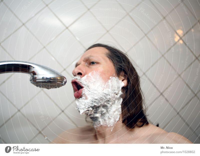 the voice of italy Lifestyle Bad maskulin Gesicht brünett langhaarig Bart Dreitagebart Vollbart Körperpflege Unter der Dusche (Aktivität) Dusche (Installation)