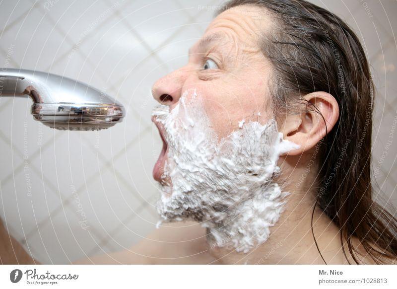 the voice of holland Bad maskulin Mann Erwachsene Gesicht langhaarig Bart Dreitagebart Vollbart nackt Sauberkeit Duschkopf Unter der Dusche (Aktivität) Rasieren