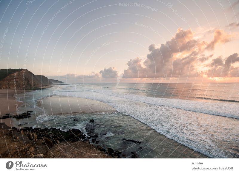 meerweh Umwelt Natur Landschaft Urelemente Sand Wasser Himmel Wolken Horizont Sonnenaufgang Sonnenuntergang Sonnenlicht Sommer Schönes Wetter Wellen Küste