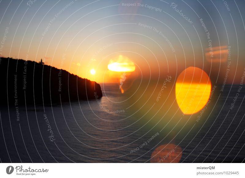 Spanish Light. Umwelt Natur Landschaft ästhetisch Zufriedenheit Sonnenuntergang Spanien Mallorca Insel Meer Sonnenlicht Blendeneffekt Wellen Bucht Romantik