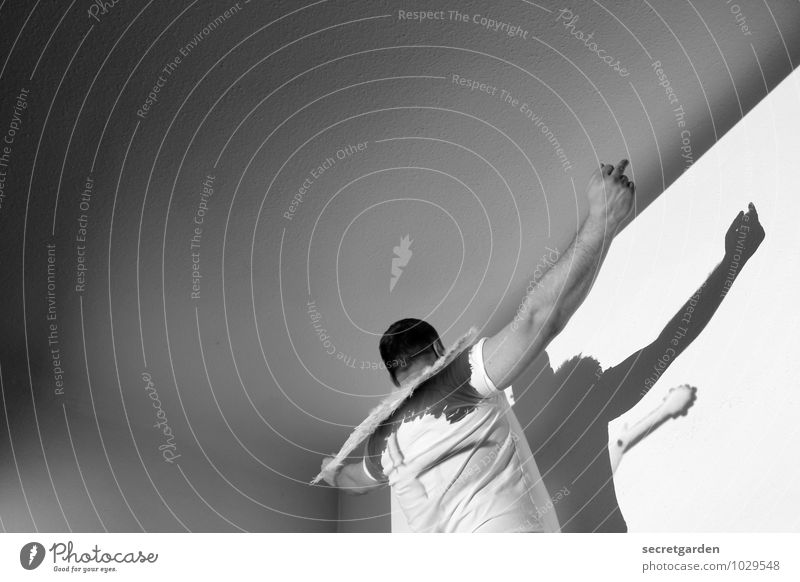 mittelfingerengel. Mensch Jugendliche Freude Junger Mann Erwachsene Gefühle fliegen hell maskulin Raum Kraft Rücken verrückt Ecke Flügel Coolness