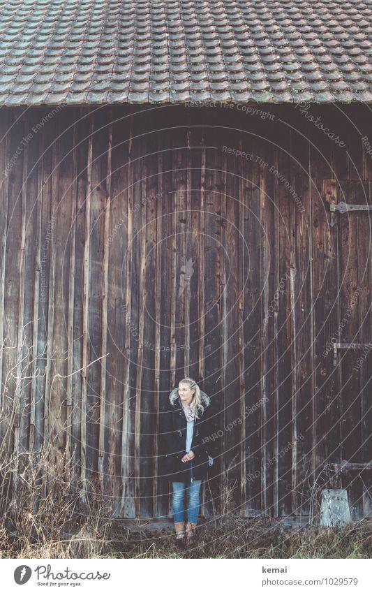 On a winter's day Mensch Jugendliche schön Junge Frau ruhig 18-30 Jahre Winter Erwachsene Wand Leben feminin Stil Mauer Holz Lifestyle blond
