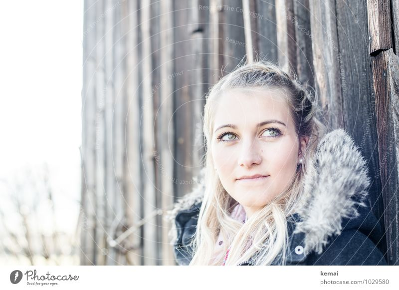 Positive Mensch Frau Jugendliche schön Junge Frau ruhig 18-30 Jahre Erwachsene Gesicht Leben feminin Glück Haare & Frisuren hell Kopf Design