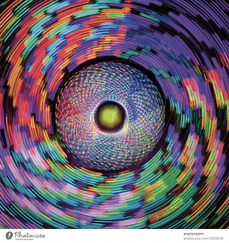 e-blume Nachtleben Oktoberfest drehen leuchten mehrfarbig Jahrmarkt Karussell Außenaufnahme Experiment Muster Strukturen & Formen Kunstlicht Licht High Key