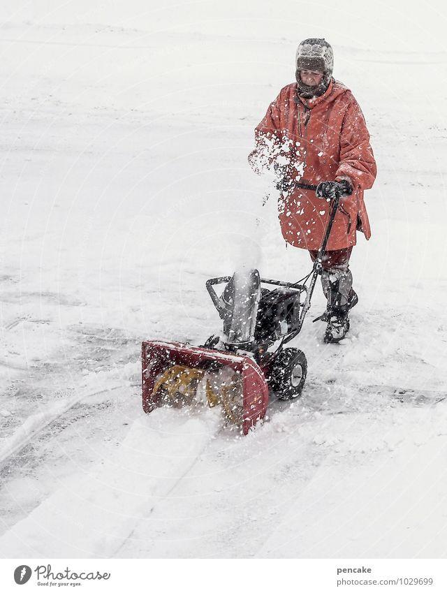 fräsen, fräsen... Mensch Winter Erwachsene Schnee Arbeit & Erwerbstätigkeit Schneefall Urelemente Reinigen Unwetter anstrengen schlechtes Wetter Winterstimmung schaufeln Winterdienst Fräse Schneepflug