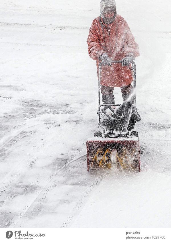 ...frääsen! Maschine Mensch androgyn Frau Erwachsene Mann Leben 1 45-60 Jahre Natur Urelemente Winter schlechtes Wetter Eis Frost Schnee Schneefall