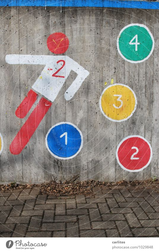 Fußball nachZahlen Wand Graffiti Ziffern & Zahlen 1 2 3 4 schießen Spielen rot blau grün gelb weiß Beton