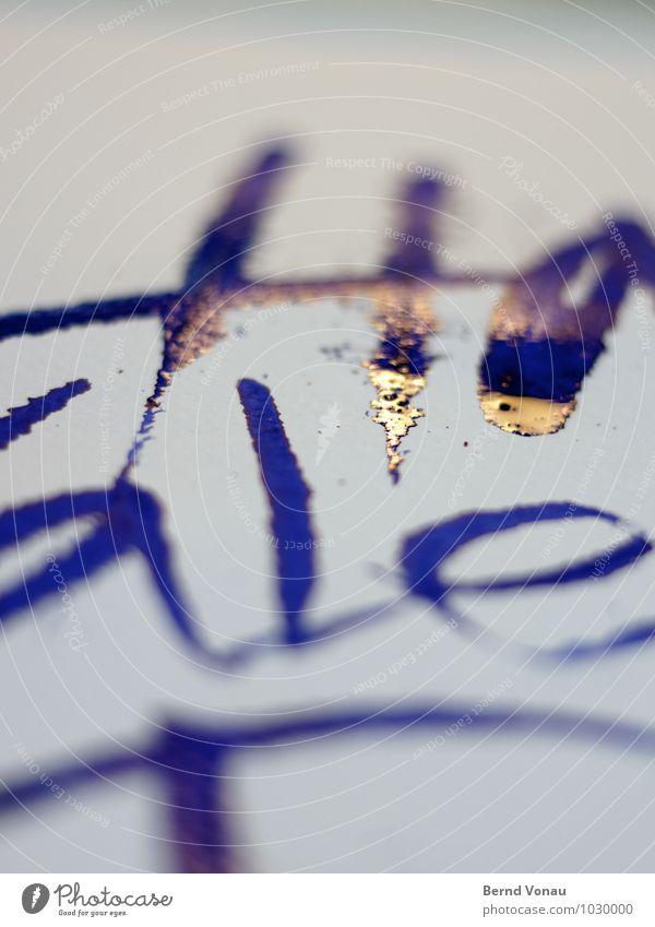 Blattgold Valentinstag Kunst Papier Gold Metallfeder zeichnen schreiben nass niedlich blau orange weiß Kreativität Tinte Illusion rau Kalligraphie Buchstaben