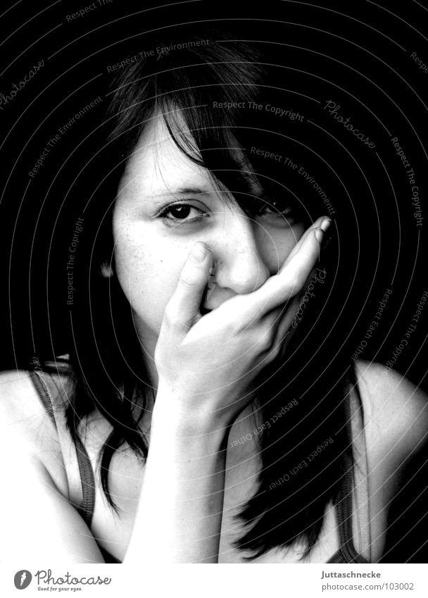 Hoppala Hand Jugendliche Freude Gesicht ruhig Auge Erwachsene geheimnisvoll Überraschung Schüchternheit Scham gestikulieren schwarzhaarig Frauengesicht Junge Frau