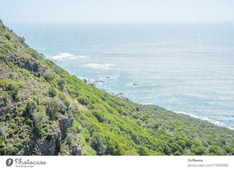 336 Natur Ferien & Urlaub & Reisen Pflanze Sommer Wasser Meer Landschaft Ferne Wald Berge u. Gebirge Wärme Küste Freiheit Horizont Wellen Sträucher