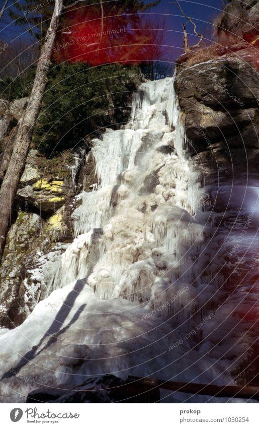 Wasserfall [Stil Japan] Himmel Natur Pflanze Baum Landschaft Winter kalt Umwelt Berge u. Gebirge Schnee Felsen Eis Kraft hoch ästhetisch