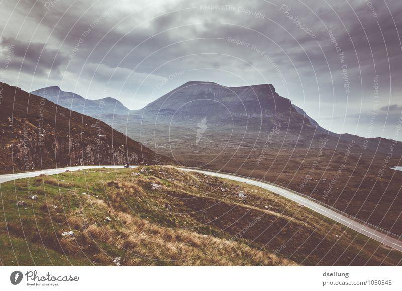 highland road II Himmel Natur Ferien & Urlaub & Reisen blau grün Sommer Landschaft ruhig Wolken Berge u. Gebirge Umwelt gelb Straße Frühling Wiese Herbst