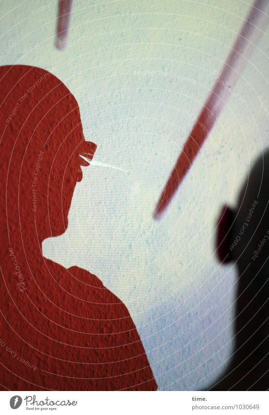 Spitzen der Gesellschaft IV Tapete Raum maskulin Kopf 2 Mensch Kunst Kunstwerk Brille Stab beobachten Blick oben Coolness Mut Vertrauen Ausdauer Platzangst