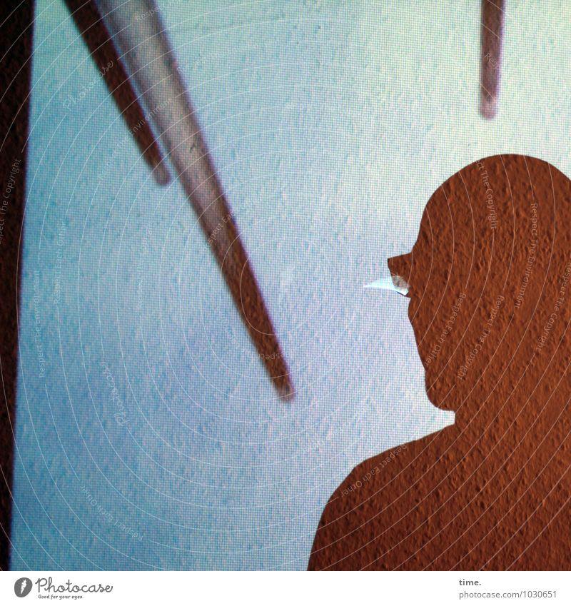 Spitzen der Gesellschaft III Tapete Raum maskulin Kopf 1 Mensch Kunst Kunstwerk Brille Stab beobachten Blick oben Coolness Mut Vertrauen Ausdauer Platzangst