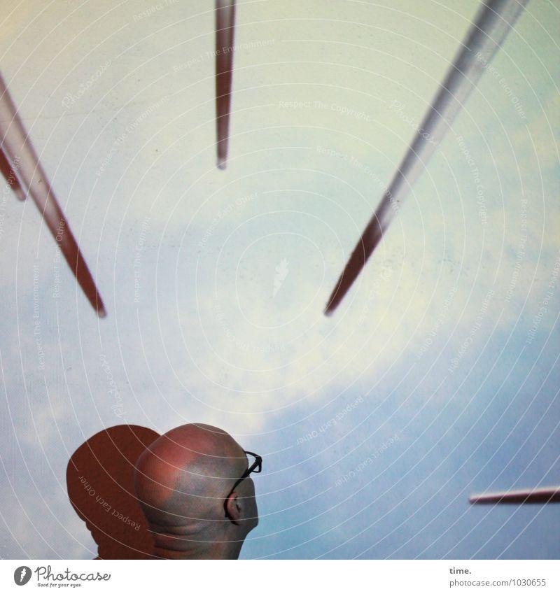 Spitzen der Gesellschaft II maskulin Kopf 1 Mensch Kunst Kunstwerk Brille Glatze Stab beobachten Blick oben Mut Vertrauen Leben Angst Platzangst Schüchternheit