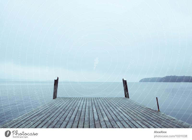 Wasserweg Abenteuer Ferne Freiheit Meer Umwelt Natur Landschaft Wolken Küste Bucht Ostsee Steg Schiffsplanken Aussicht Tor Erholung ästhetisch authentisch frei
