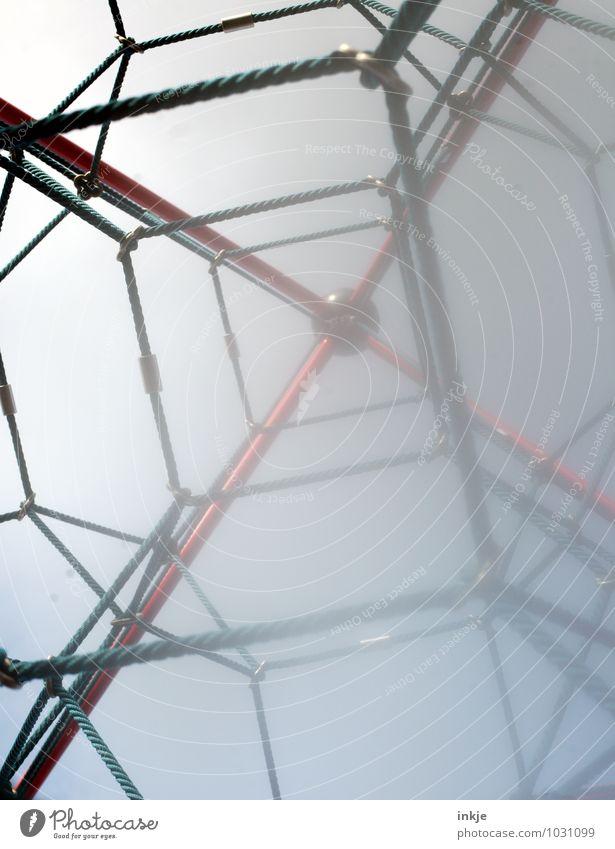 hoch hinaus Freude Spielen Linie oben Lifestyle Freizeit & Hobby hoch Beginn Seil Sicherheit Netzwerk Netz Mut Kreuz aufwärts anstrengen