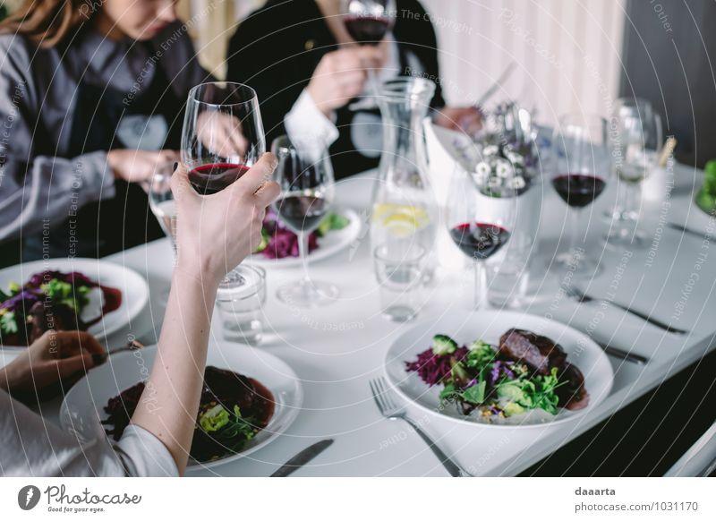 Jubelmoment Lebensmittel Fleisch Gemüse Salat Salatbeilage Ernährung Essen Getränk Limonade Wein Teller Flasche Glas Besteck Lifestyle elegant Stil Design