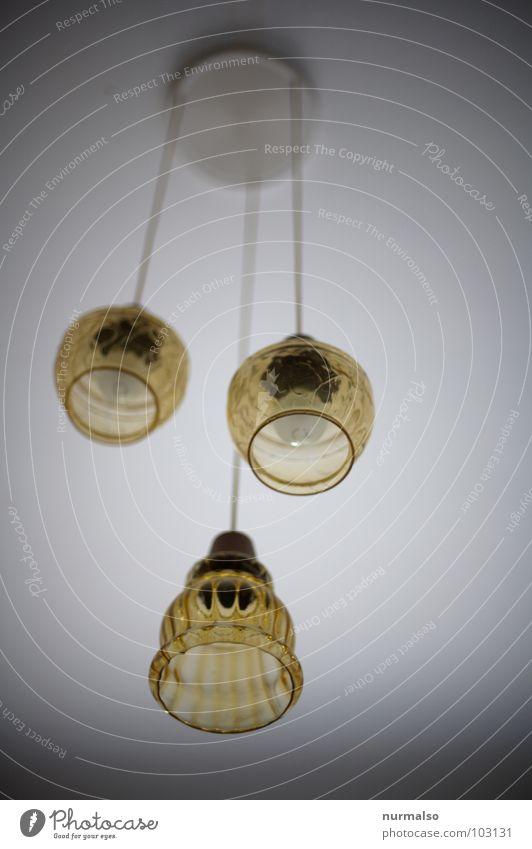 scharfes Licht Lampe 3 Elektrizität gleich braun durchsichtig Ostalgie historisch DDR Glas alt