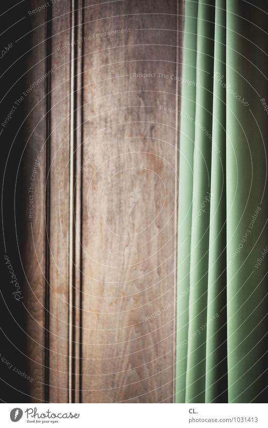 vorhang Häusliches Leben Innenarchitektur Dekoration & Verzierung Vorhang Stoff Falte Faltenwurf Holzwand braun grün Farbfoto Innenaufnahme abstrakt