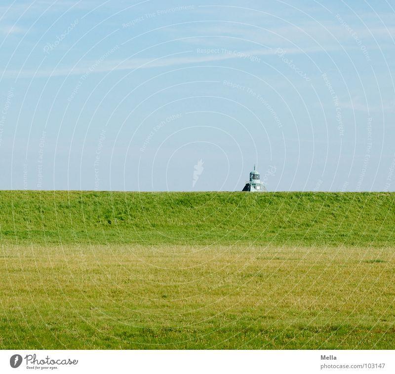 Halbe Deckung Himmel grün blau Sommer Gras Gebäude Hintergrundbild Rasen Dach Spitze verstecken hinten Versteck Deich Neuwerk