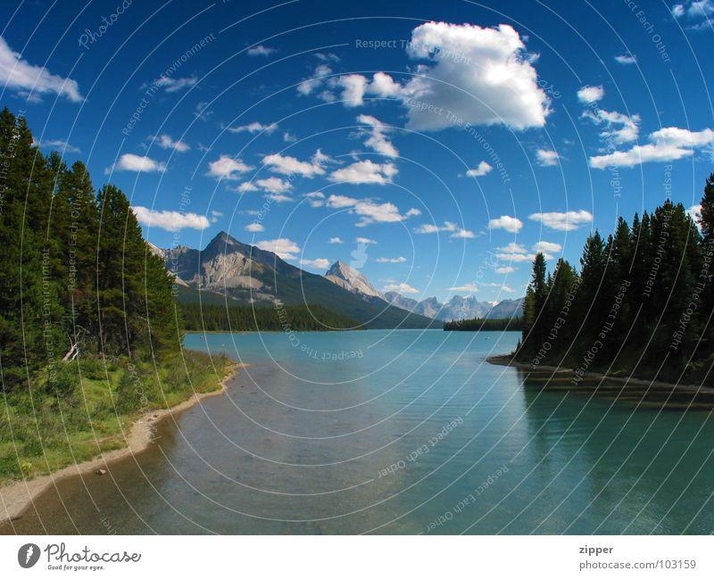Maligne Lake Sommer Ferien & Urlaub & Reisen Berge u. Gebirge Kanada Alberta Jasper National Park Maligne Lake