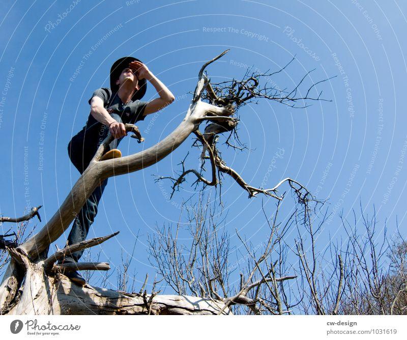 AusBlick - Junger Mann genießt die Aussicht von einem Baum Freude Erholung ruhig Freizeit & Hobby Jagd Ferien & Urlaub & Reisen Ausflug Abenteuer Ferne Freiheit