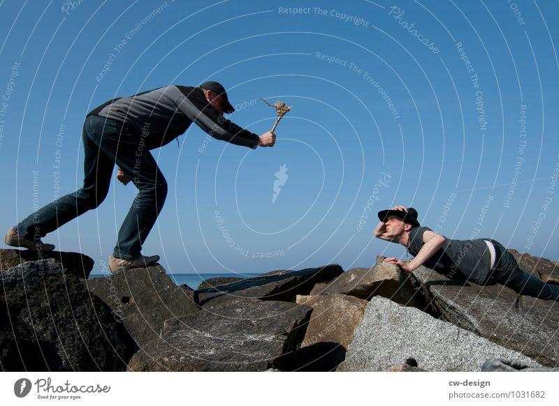 Der raue Atem des Meeres Mensch Jugendliche Mann Junger Mann Freude 18-30 Jahre Erwachsene Leben außergewöhnlich Freiheit Angst Freizeit & Hobby Fröhlichkeit