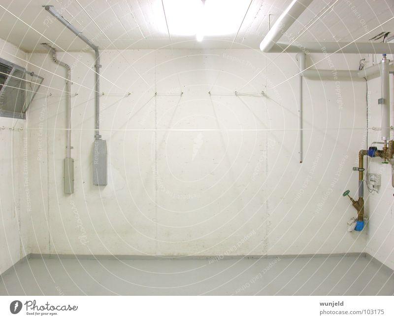 Waschküche weiß Raum Architektur Beton Wäsche Haushalt Keller Wäscheleine Waschhaus