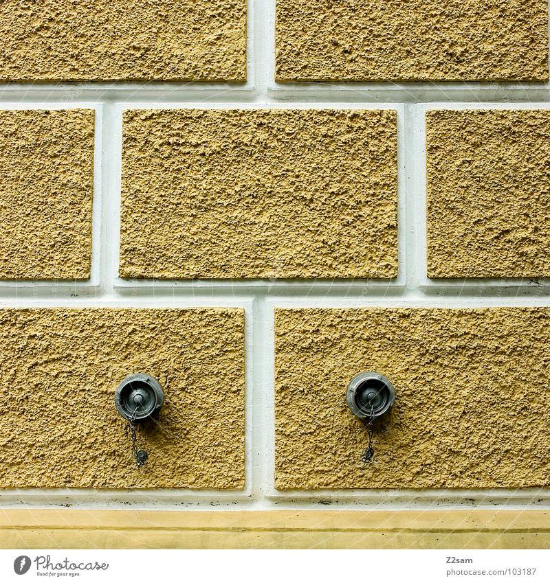 wasserstelle weiß gelb Wand Stein Architektur gold einfach Quadrat Geometrie Anschluss gleich Wasserstelle