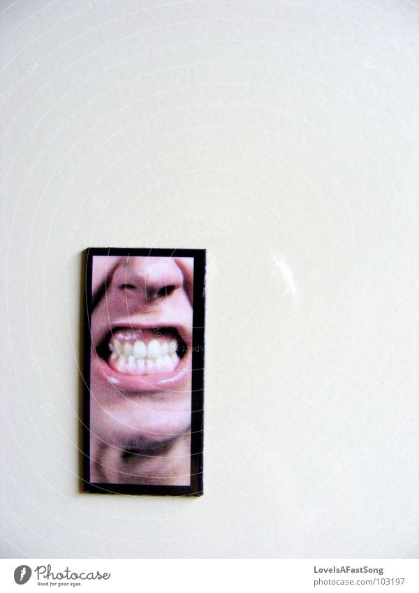 angry Magnet Hinweisschild black white frame face teeth chin lips nose silly picture