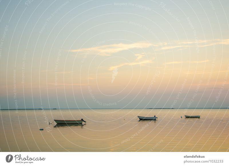 Verankerte Ruderboote bei Dämmerung in einer ruhigen Bucht schön Sommer Meer Natur Landschaft Himmel Küste Ostsee See Wasserfahrzeug alt klein weich gelb weiß