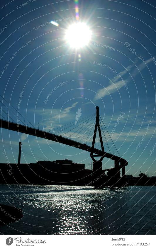 Köhlbrandbrücke Sonnenstrahlen Gegenlicht Wolken Pol- Filter Reflexion & Spiegelung ruhig Brücke Hafen Hamburg Blendenfleck Himmel blau Schatten Wasser