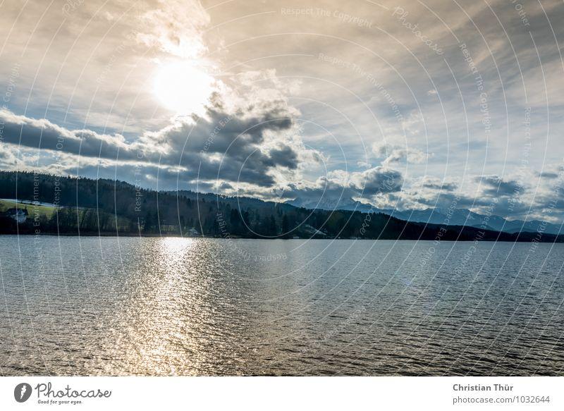 Morgengruss am See Himmel Natur Ferien & Urlaub & Reisen Erholung Landschaft ruhig Wolken Winter Berge u. Gebirge Umwelt Leben Herbst Küste glänzend