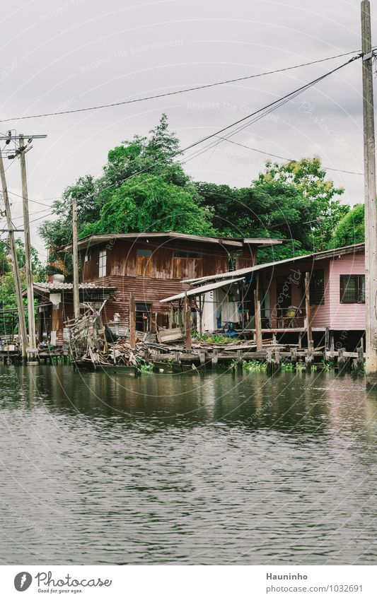 Haus am großen Fluss Himmel Ferien & Urlaub & Reisen Wasser Sommer Baum Ferne Wand Mauer Holz Wohnung Häusliches Leben Abenteuer Dach entdecken
