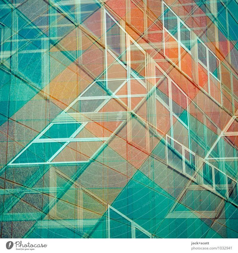 Centrum Warenhaus doppelt gemoppelt Design DDR Kaufhaus Fassade Fenster Quadrat kreuzen eckig retro orange türkis chaotisch Surrealismus Illusion