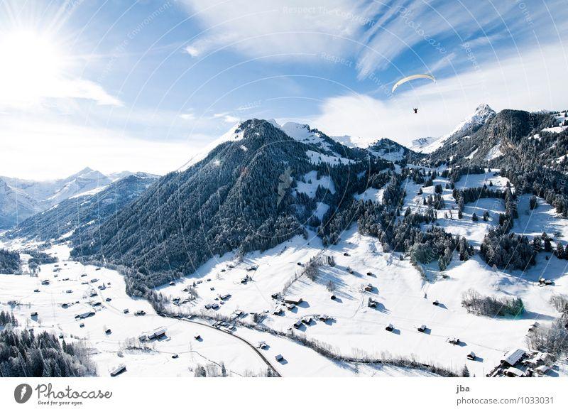 Flug nach Hause Natur Sonne Erholung Landschaft ruhig Winter Ferne Wald Berge u. Gebirge Leben Schnee Sport Freiheit fliegen Luft Freizeit & Hobby