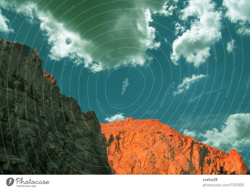 Finalisiert! Natur Himmel blau Sommer Wolken Stil Berge u. Gebirge Landschaft hell orange Felsen hoch verrückt heiß