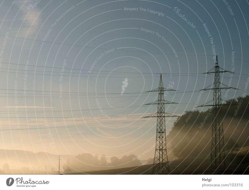Hochnebel Himmel Baum Sonne Sommer Wolken Wald Feld Nebel Energiewirtschaft Elektrizität Kabel Strommast Hochspannungsleitung Morgennebel Nebelbank
