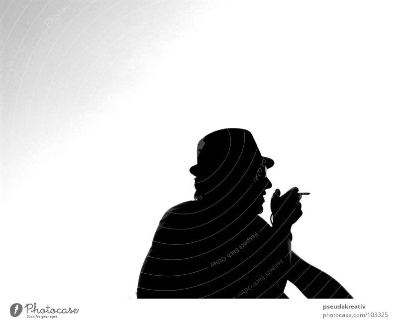 Martin - break for a smoke Mann schwarz Langeweile weiß Erholung Pause Einsamkeit Rauchen man Silhouette Hut chill Schatten
