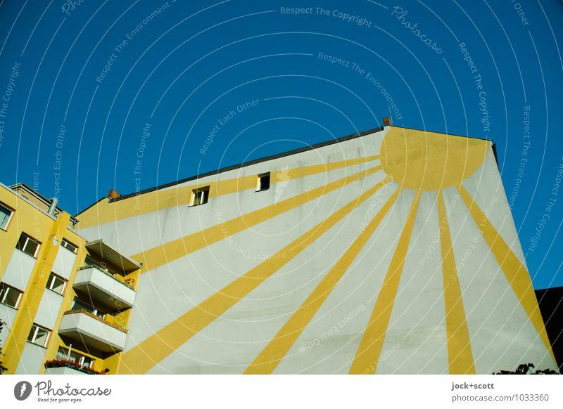 Sonnenschein das ganze Jahr Stil Straßenkunst Wolkenloser Himmel Schönes Wetter Stadthaus Fassade Balkon Fenster Brandmauer Halbkreis Piktogramm leuchten eckig