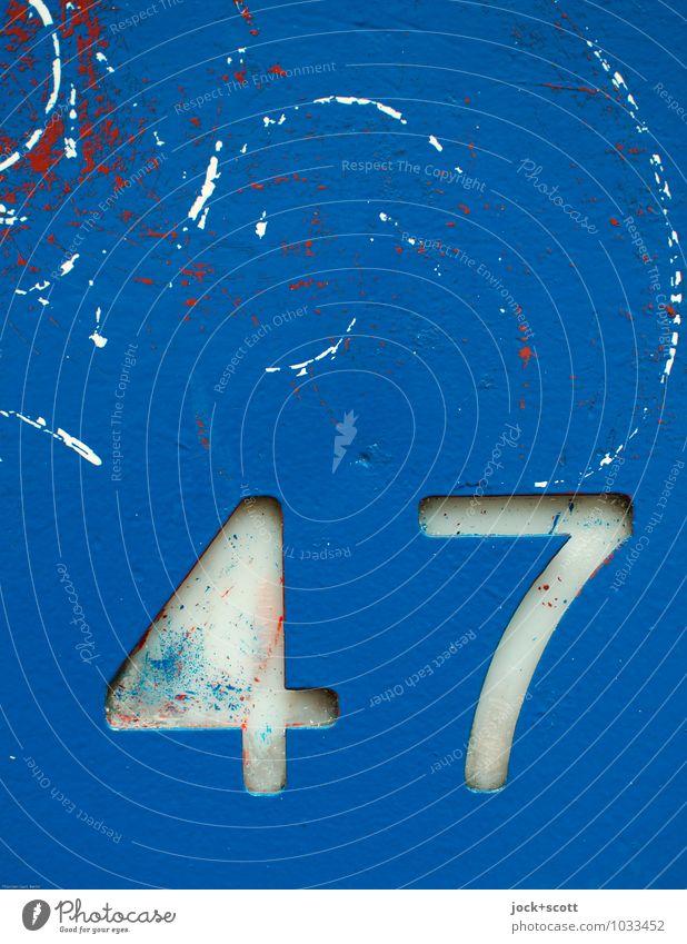 47 Typographie Dekoration & Verzierung Sammlerstück Metall Kunststoff Ziffern & Zahlen Schilder & Markierungen Graffiti dreckig einfach fest retro blau Stimmung
