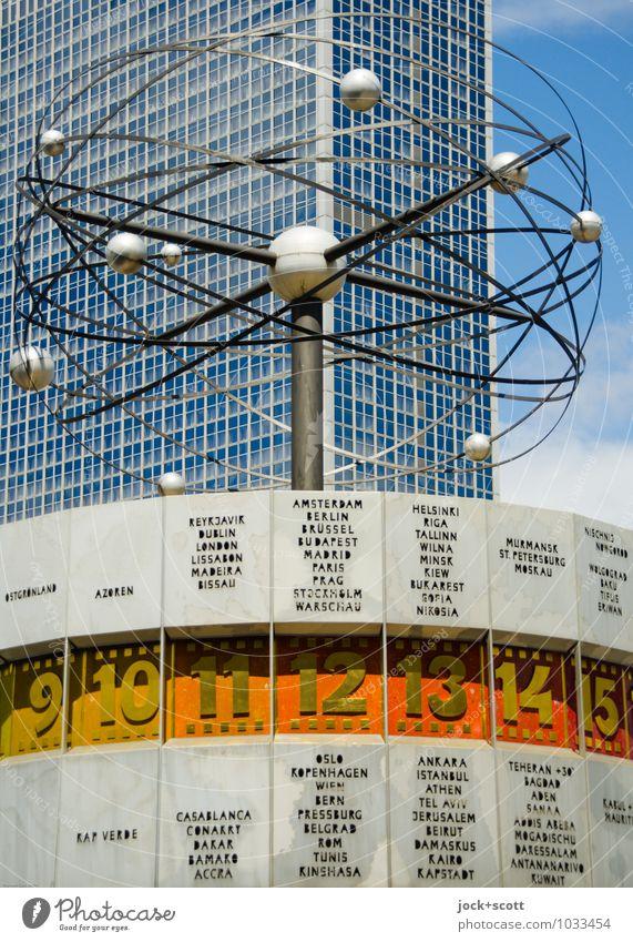 Zeit für retro Himmel Stadt Zeit Metall Design authentisch Hochhaus Schriftzeichen retro Ewigkeit Ziffern & Zahlen Vergangenheit Stadtzentrum Typographie nachhaltig DDR